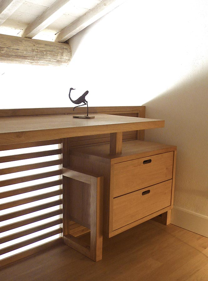 Corbezzolo scrivania in legno massello artigianale design